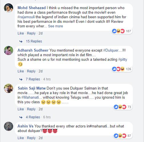 Dulquer Salmaan fans slam Rakul Preet over her post about Mahanati