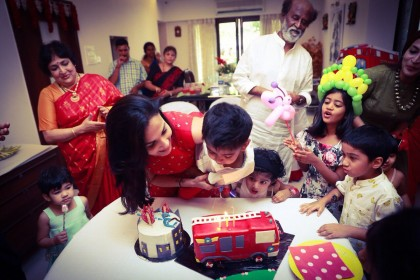 Photos: Rajinikanth captured in a happy-go-lucky moment at grandson Ved's birthday party