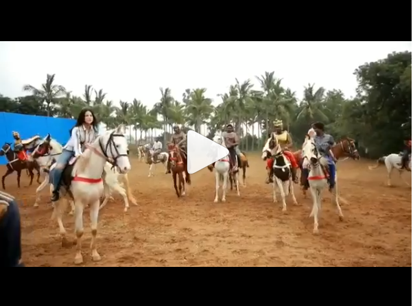 Watch: Sunny Leone does her own horse riding and stunts for the first look shoot of Veeramdevi