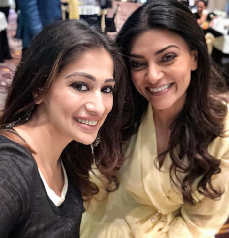 So pretty! Raai Laxmi and Sushmita Sen in one frame is picture perfect