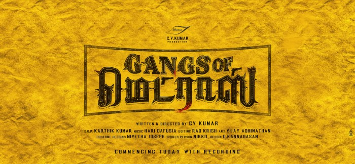 Maayavan director CV Kumar gearing up for his next titled Gangs of Madras