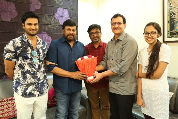 Sudheer Babu and team celebrate the success of Sammohanam with Megastar Chiranjeevi