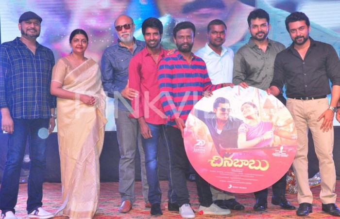 Photos: Sathyaraj and Karthi at the audio launch of Chinna Babu