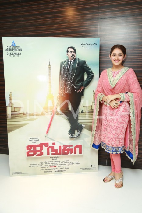 Photos: Vijay Sethupathi, Sayyeshaa and others at Junga trailer launch