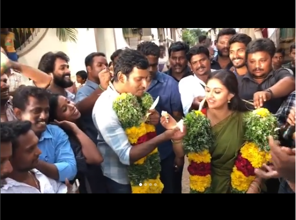 Photos: Keerthy Suresh and Vishal celebrate the success of Mahanati and Irumbu Thirai on the sets of Sandakozh