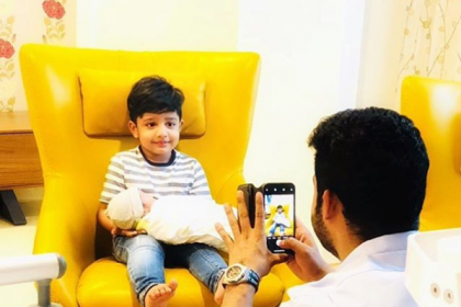 This adorable picture of Jr NTR's son Abhay holding his newborn baby brother is going viral