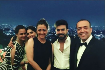 Inside Photos:Ram Charan, Upasana Kamineni, Namarata Shirodkar bond at the post-wedding party of Shriya Bhupal