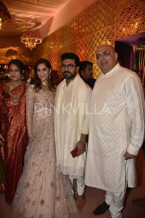 Photos: Chiranjeevi, Ram Charan, Upasana, Namrata Shirodkar and others attend Shriya-Anindith wedding