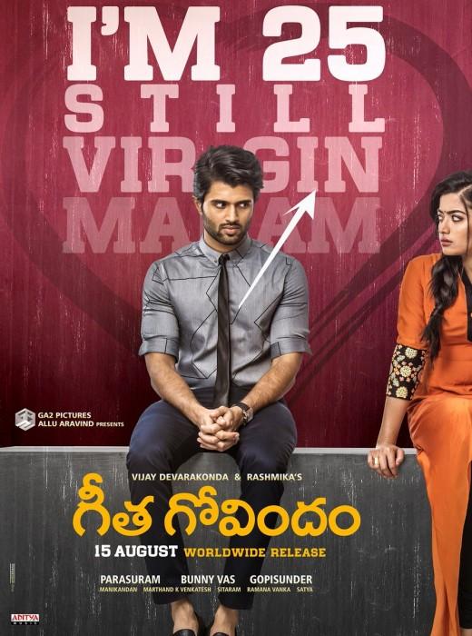 I'm 25 and still a virgin madam, Vijay Deverakonda tells Rashmika in this new poster from Geetha Govindam