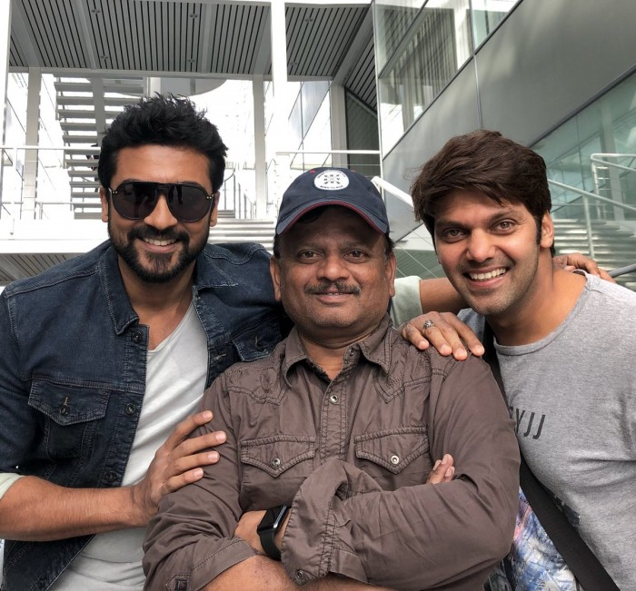 See Pic: Director KV Anand shares a picture of Suriya and Arya from the sets of his upcoming film