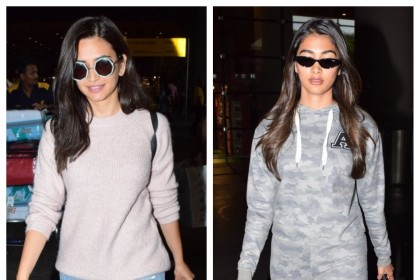 Photos: Pooja Hegde and Kriti Kharbanda spotted at Mumbai airport