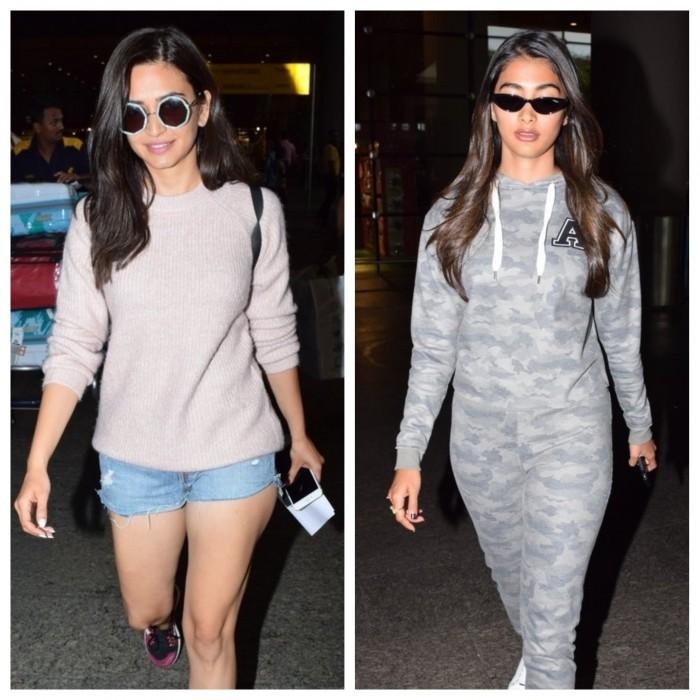 Photos: Pooja Hegde and Kriti Kharbanda spotted at Mumbai airport