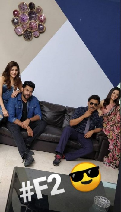 Tamannaah Bhatia and Mehreen join Venkatesh and Varun Tej for amazing photo shoot for their next F2