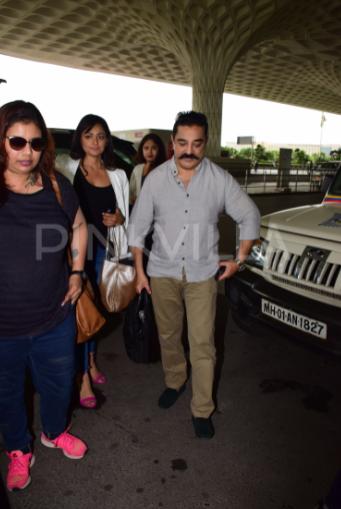 Airport diaries: Kamal Haasan and Pooja Kumar arrive in Mumbai for Vishwaroopam 2 promotions