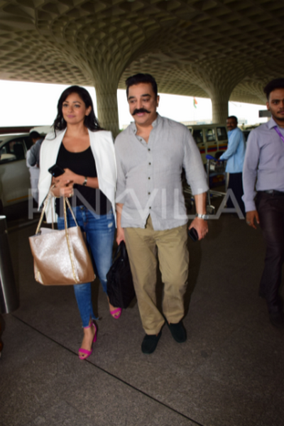 Airport diaries: Kamal Haasan and Pooja Kumar arrive in Mumbai for Vishwaroopam 2 promotions