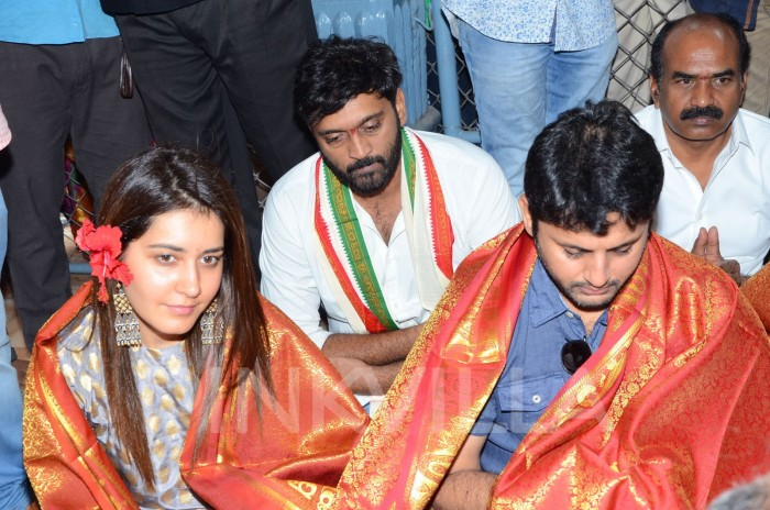 Photos: Nithiin and Raashi Khanna visit Tirumala temple ahead of Srinivasa Kalyanam release