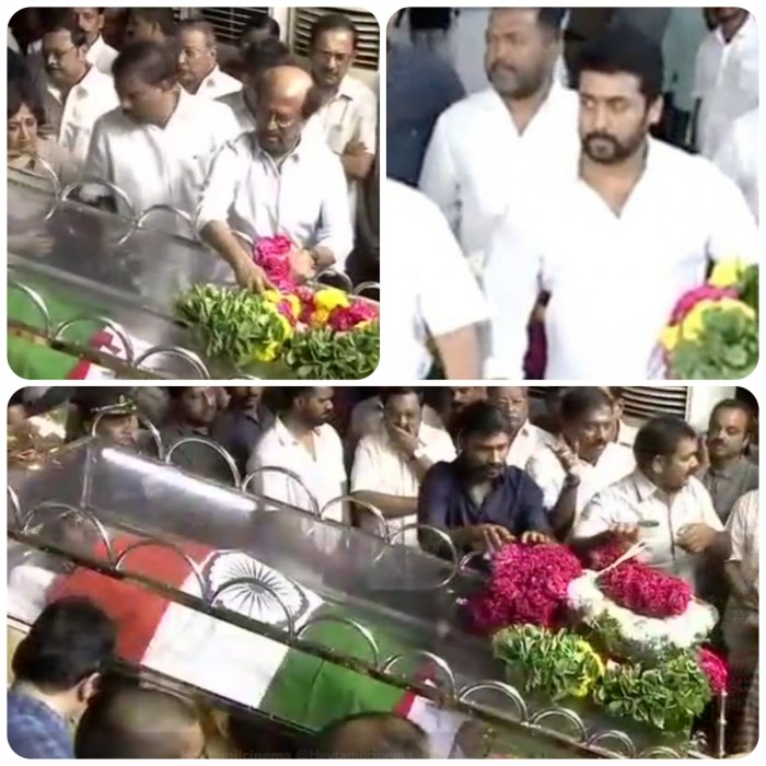 Karunanidhi funeral: Rajinikanth, Dhanush, Ajith and other celebs pay their last respects to Kalaignar