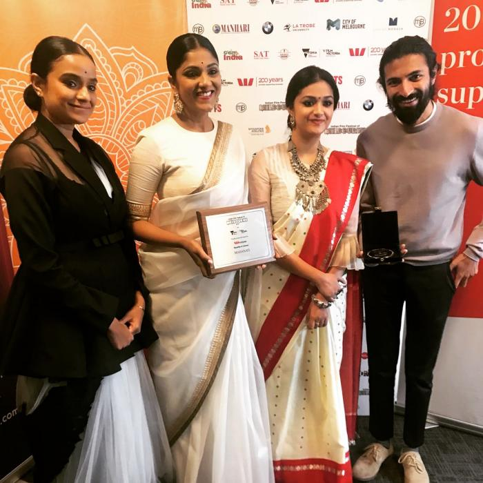 Photos: Keerthy Suresh celebrates the win of Mahanati with Rani Mukerji and others at IFFM 2018