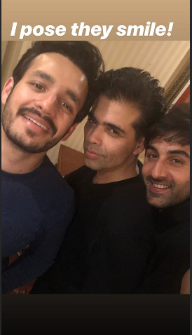 Karan Johar on the sets of Brahmastra with Ranbir Kapoor and Nagarjuna's son Akhil Akkineni; I pose they smile