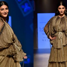 Lakme Fashion Week: Shruti Haasan sets the ramp of fire as a showstopper for Saaksha and Kinni