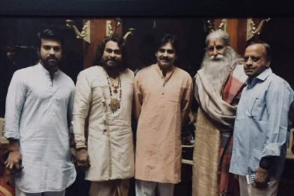 Pawan Kalyan visits Amitabh Bachchan and Chiranjeevi on the sets of Sye Raa Narasimha Reddy