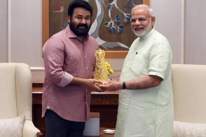 Malayalam superstar Mohanlal meets Prime Minister Narendra Modi on Janmashtami