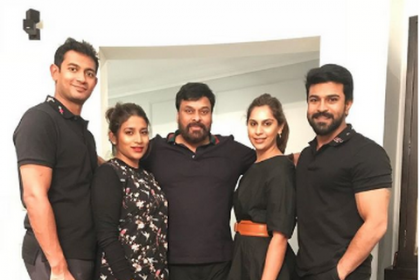 Megastar Chiranjeevi pays a surprise visit to Ram Charan on the sets of RC12
