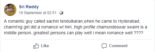 Sri Reddy accuses Sachin Tendulkar of controversial things that are unheard of when it concerns the cricketer