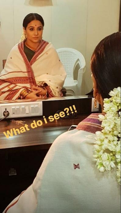 Vidyan Balan shares a glimpse of her look as Basavatarakam from the NTR biopic; see photo