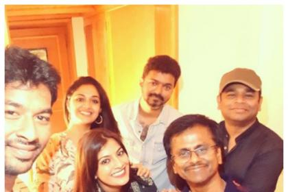 AR Rahman, Vijay, Keerthy Suresh, AR Murugadoss celebrate Sarkar success with cake-cutting; see photos
